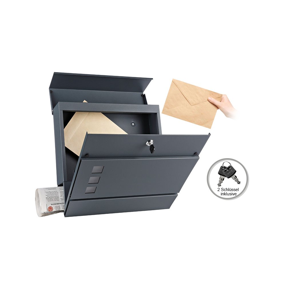 37 x 11 x 36,5 cm Melko Anthrazit Design Briefkasten mit Zeitungsfach aus poliertem Edelstahl
