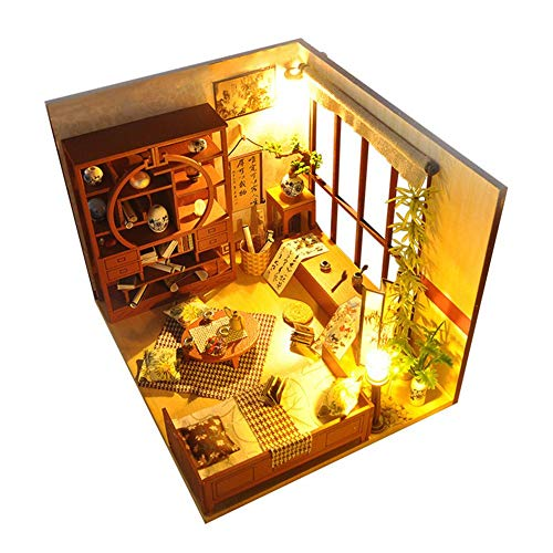 Mikolot Wooden Miniature Dollhouse, 3D DIY Mini House Kit with Led Lights and Furniture, Decorative DIY House Craft Kits (Bamboo - Light Bamboo Kit