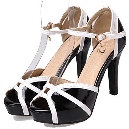 COOLCEPT Mujer Moda Correa de Tobillo Correa Sandalias Tacon Alto Plataforma Peep Toe Zapatos Tamano Negro
