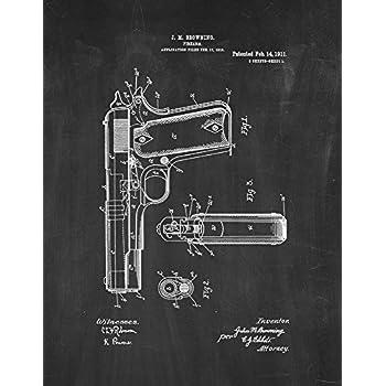 Amazon colt 1911 gun patent print art poster blueprint 13 x colt 1911 gun patent print art poster chalkboard 85 x malvernweather Image collections