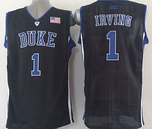 Men's Duke Blue Devils NO.1 Irving Black NCAA Basketball Jerseys Breathable Holes Medium