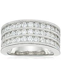 Platinum Plated Sterling Silver Swarovski Zirconia Band Ring