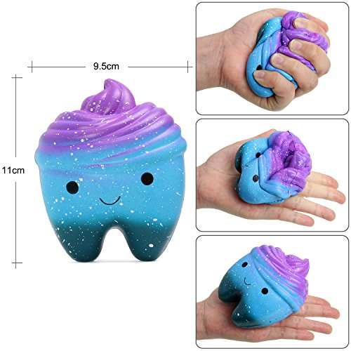 OYE HOYE 4PCS Jumbo Squishies Slow Rising Squishy Toy Set Scented Galaxy Tooth Cute Unicorn Set Charms Stress Reliever for Kids Adult by OYE HOYE (Image #5)