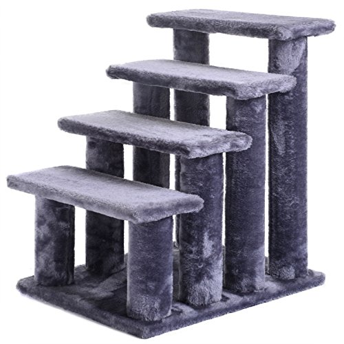 Hot Sale! 21'' pet ramp cat 4-Step Stairway Perch Scratcher Stairs Dog (Carpeted Cat)