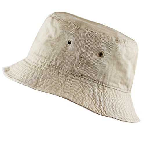 (The Hat Depot 300N Unisex 100% Cotton Packable Summer Travel Bucket Hat (L/XL, Khaki))