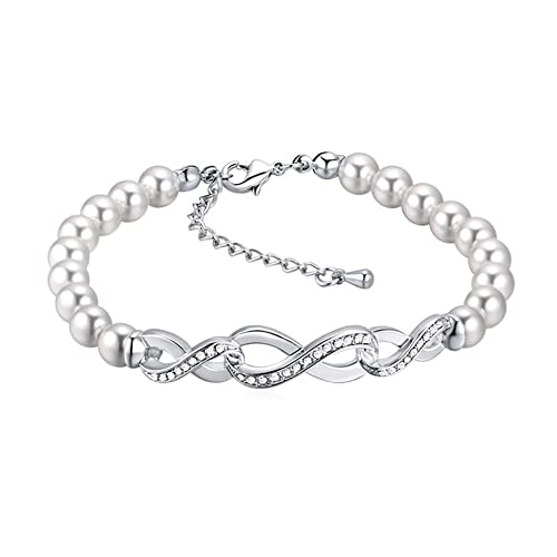 749e09d4a6 Youfir Womens Pearl Swarovski Crystals Infinity Endless Love Symbol Charm  Adjustable Bracelet(Clear)