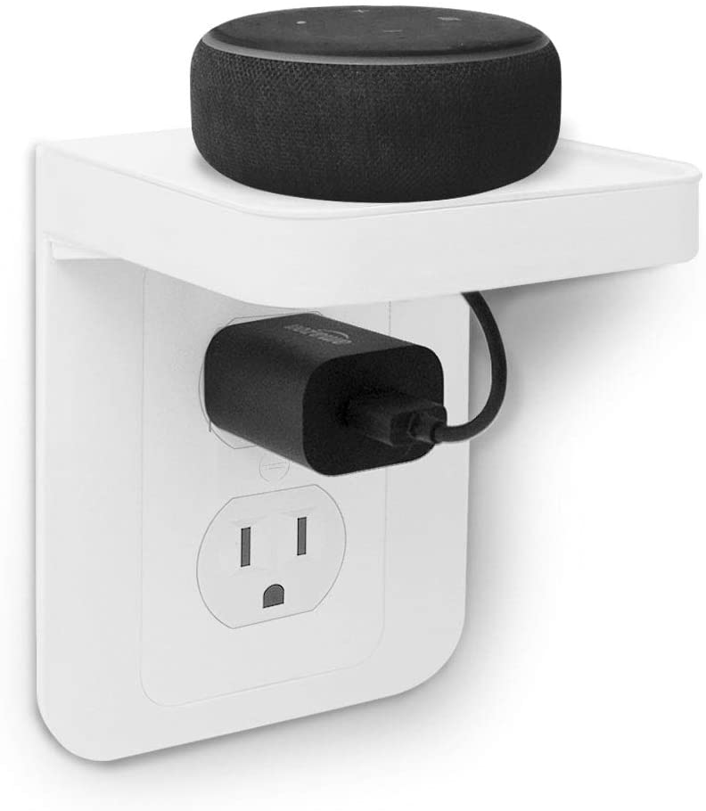ALLICAVER Outlet Shelf, Power Perch with Built-In Cable Management, A Space Saving Solution for Google Home, Smart Speakers, Cellphones, Electric Toothbrush and More (White-standard) - -