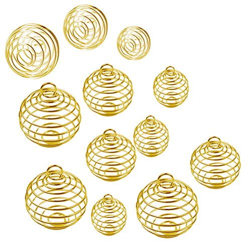 (ULTNICE 30Pcs Spiral Bead Cage Plated Cage Charms Pendants for DIY Jewelry Making (Gold) )