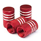 Tire Stem Valve Caps Cover Round with Anti-slip Pattern (Set of 4pcs) Aluminum with Gasket Rubber Rings Universal fit for All cars and Bike (Red)