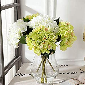 Silk Hydrangea DIY Gifts Wedding Christmas Decor for Home Fake Floristics Plastic Household Products Artificial Flowers Rattan,Light Yellow 3