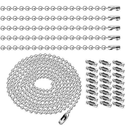 BronaGrand 10pcs 1m Length Nickel Beaded 2.4mm Ball Chain Necklaces Pull Chain Extension with 50pcs Connector