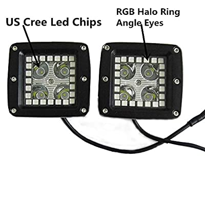 IOV LIGHT 3.2 Inch 16W CREE Led Work Light with RGB5050 Angle Eyes 7 Solid Colors Changing and Many Flashing Modes Led Cubes for Offroad SUV 4WD Jeep Truck Free Wiring Harness(Pack of 2)