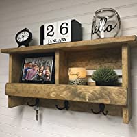Wall organizer | Entryway shelf | Rustic wooden shelf | Coat rack | Key holder | Entryway decor | Rustic decor