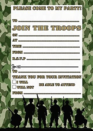 Army Party Invites Pack Of 20 With Envelopes Amazoncouk Toys Games