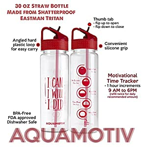 "30 oz Flip Straw ""I Can, I Will, I Did"" Inspirational Water Bottle with Motivational Time Tracker 
