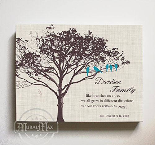MuralMax Personalized Family Tree & Lovebirds, Stretched Canvas Wall Art, Make Your Wedding & Anniversary Gifts Memorable, Unique Wall Décor - Ivory # 1 - Size 10 x 8-30-DAY 60th Wedding Anniversary Invitations