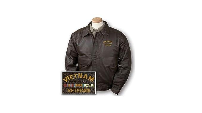 Amazon.com: Burks Bay Vietnam Veteran - Chaqueta de piel ...