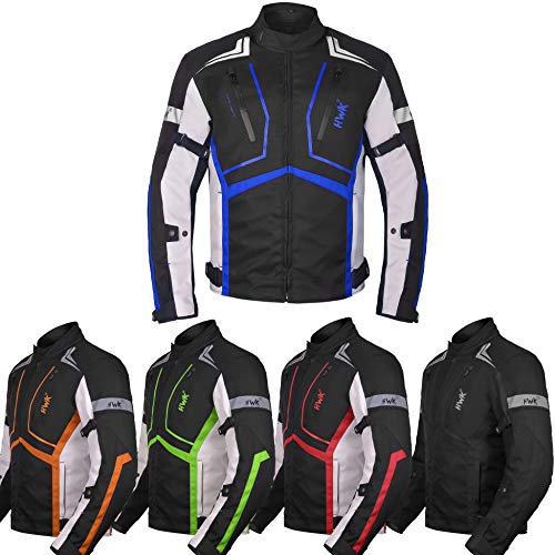 Motorcycle Jacket For Men Cordura Motorbike Racing Biker Riding Breathable CE Armored Waterproof All-Weather (Blue, Medium)