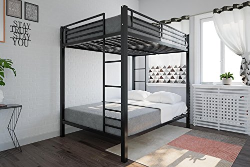 etal Bunk Bed, Sturdy Frame with Metal Slats, Black ()