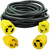 Leisure Cords 3-Prong 25 Feet 30 Amp Generator Cord, 10 Gauge Heavy Duty L6-30 Generator Power Cord up to 3750W with Cord Organizer (25-Feet)