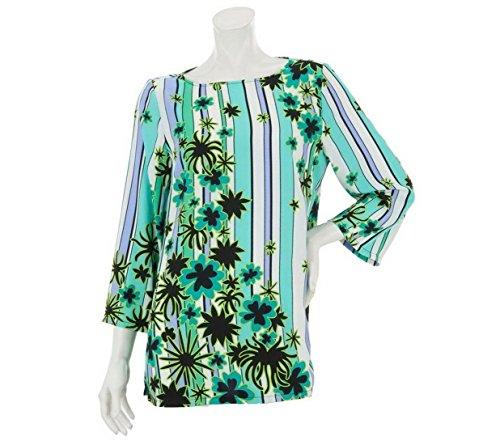 Bob Mackie Scoop Neck Floral Stripe Printed Top Stitch Aqua Multi XL New A231814