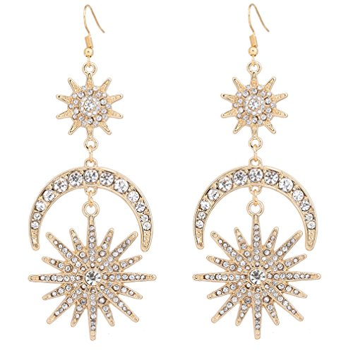 HSWE Star Burst Earrings Star and Moon Dangle Ear Hook Crystal Earrings (Gold Starburst)