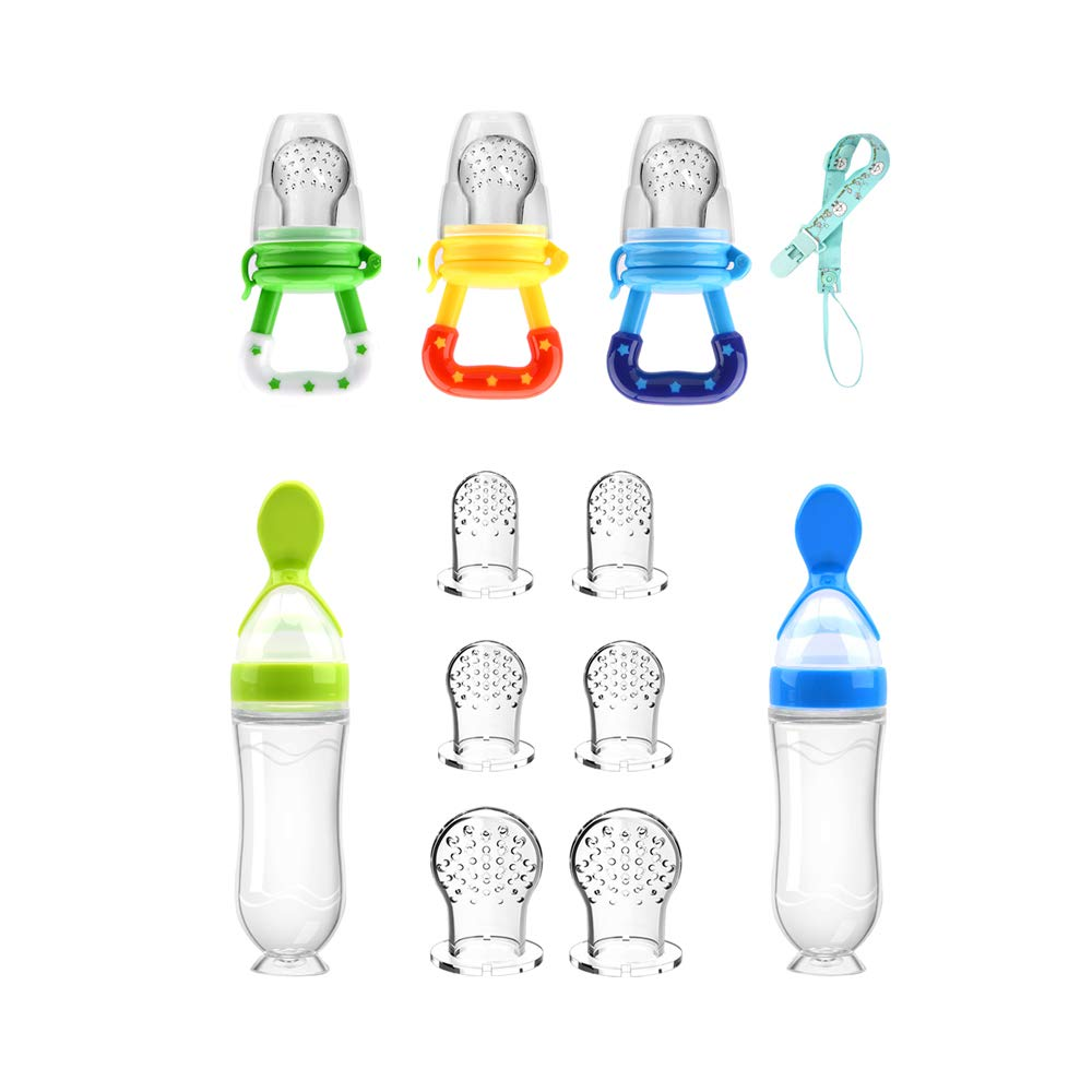 Food Feeder Baby Fruit Feeder Pacifier (3 Pcs) with 6 Different Sized Silicone Pacifiers 2 PCS Silicone Baby Food Dispensing Spoon 90ML with 2 Baby Spoons Pacifier Clip Infant Fruit Teething Toy -Blue