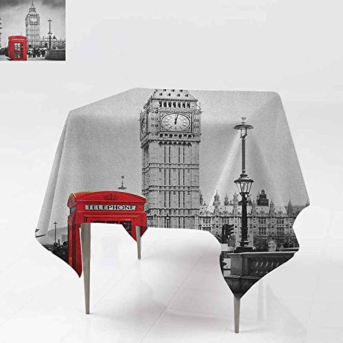AndyTours Spillproof Tablecloth,London,Famous Telephone Booth and The Big Ben in England Street View Symbols of Town Retro,for Events Party Restaurant Dining Table Cover,50x50 Inch Red Grey ()