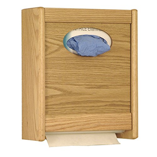 Wooden Mallet Combo Towel Dispenser and Glove/Tissue Holder, Light Oak
