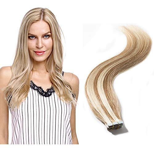 Tape in Human Hair Extensions Blonde Highlight Highlighted Double Side Tape Seamless Skin Weft Natural Hair Extensions 20pcs Long Straight #12/613 Light Brown mix Bleach Blonde 14''/14inch 40g (My Hair Extensions)