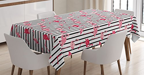 Home Decor Tablecloth By Ambesonne  Flamingo Birds Pattern On Vertical Striped Background Tropical Garden Wild Life Nature Home  Dining Room Kitchen Rectangular Table Cover  52 X 70 Inches  Pink Black