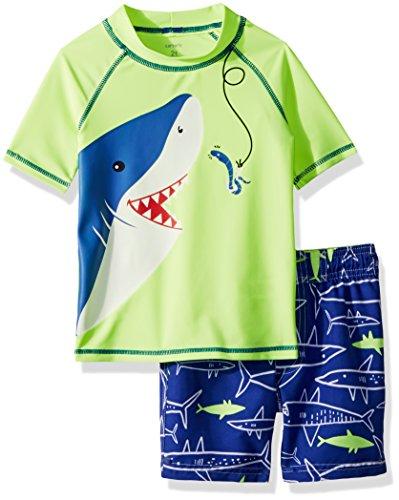 Carter's Boys' Toddler Rashguard Set, Yellow Shark, 4T (Bathing Boys Toddler Suit)