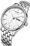 BUREI Men's Dress Watches with White Dial Day Date Canlendar