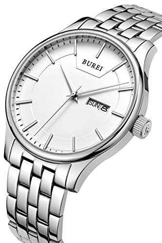 Calendar Stainless Steel White Dial (BUREI Men's Dress Wrist Watches with White Dial Day Date Canlendar and Stainless Steel Bracelet)