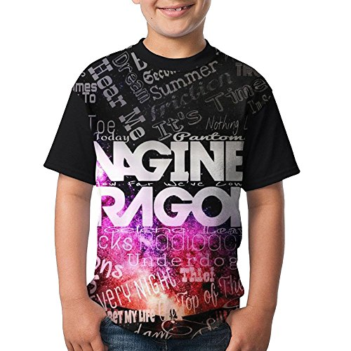 Imagine_Dragon Children Boy's Girl Short Sleeve Crew Neck Funny Blouse Tshirts XL