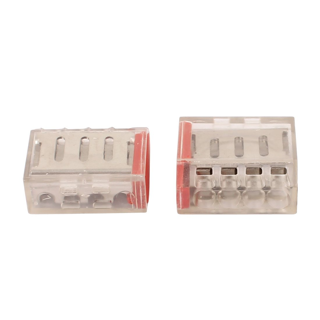 12 Stk AC 400V 30A 2.5-6mm2 4-fach Klemmenleiste Push Kabel Stecker Rot