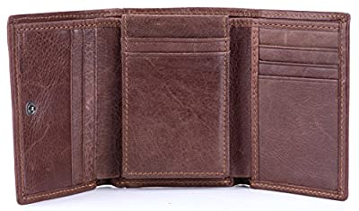RFID Blocking Genuine Cowhide Leather Trifold Card Wallet for Men With 2 ID Window