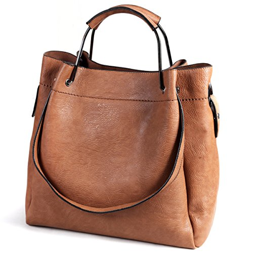 AB Earth 3 Pieces Women Hobo Handbag PU Leather Totes Matching Wallet Satchel Shoulder Bag (Brown (2 (Soft Leather Satchel Handbag)
