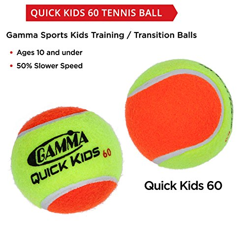 Gamma Sports Kids Training (Transition) Balls, Yellow/Orange, Quick Kids 60, 12-Pack