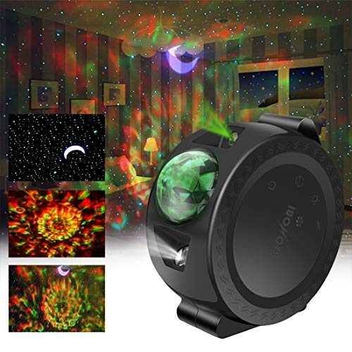Star Light Projector for Kids, 3-1 Laser Projection Lamp Moon/Star/Cloud Touch&Voice Control Universe LED Lights,Sky Laser Projector for Bedrooms, Game Rooms, Home Theatre, Party(Black)