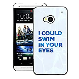A-type Arte & diseño plástico duro Fundas Cover Cubre Hard Case Cover para HTC One M7 (Love Text Blue White Quote Valentines)