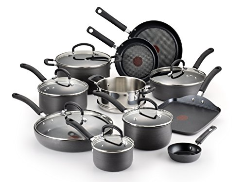T-fal E765SH Ultimate Hard Anodized Scratch Resistant Titanium Nonstick Thermo-Spot Heat Indicator Anti-Warp Base Dishwasher Safe Oven Safe PFOA Free Cookware Set, 17-Piece, Gray (Electric Cook Fry Pan)