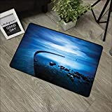 Bathroom door mat W35 x L59 INCH Seascape,Seaside Rocks Curvy Jetty at Dawn Dreamy Panoramic Majestic Aquatic View Print,Navy Blue Natural dye printing to protect your baby's skin Non-slip Door Mat Ca