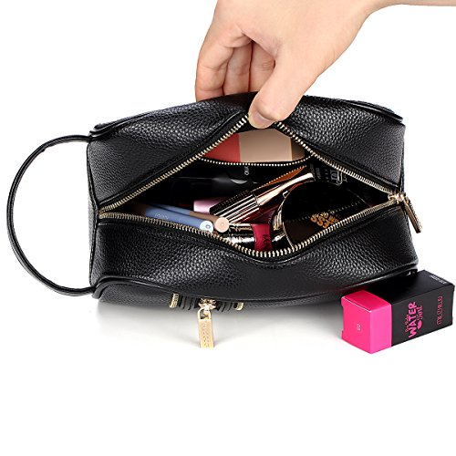 - Makeup Bag, Best Present for mother day's Leather Toiletry Bag Travel Kit Makeup Organizer Cosmetic Bag Pouch for Women Girls with Durable Zipper Carry Handle Black Mother's Day Gift