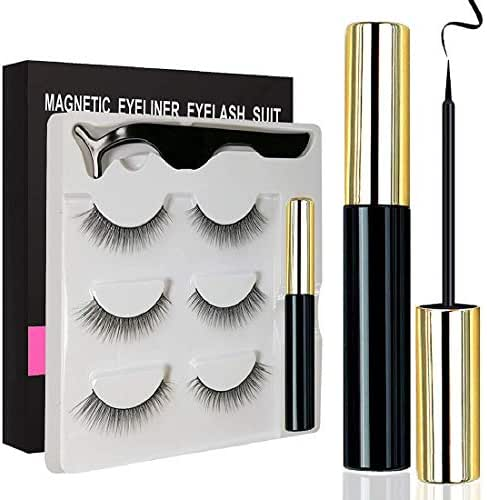Unbne Magnetic Eyeliner and Magnetic Eyelash Kit, Magnetic Eyelashes with Eyeliner, Multi Styles Ultra-Thin 3D Reusable Magnets False Lashes Natural Look with Applicator,M1