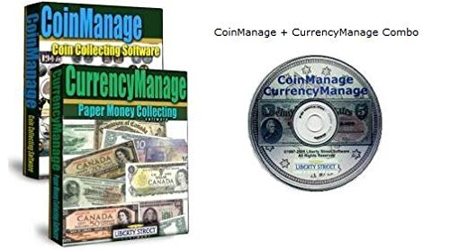 USA Numismatic Combo - CoinManage USA + CurrencyManage USA. Coin & Paper Money Collecting Software. Database of All US Coins, Sets, Commemoratives, Bullion Coins. US Bank Note Database Includes All Silver Certificates, Federal Reserve Notes, National Currency, etc. With Values.