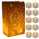 Gzero 60 Flameless Tea Lights - Yellow Flickering LED Tealight Candles 30 Angel Bonus Luminary Bags