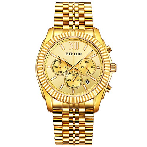 BINLUN Men's Watch 18k Gold Plated Sports Chronograph Watches for Men Luxury Dress Stainless Steel Quartz Wrist Watch with Calendar Date ()