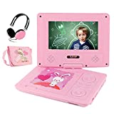"FUNAVO 7.5"" Portable DVD Player with Headphone, Carring Case, Swivel Screen, 5 Hours Rechargeable Battery, SD Card Slot and USB Port (Pink)"