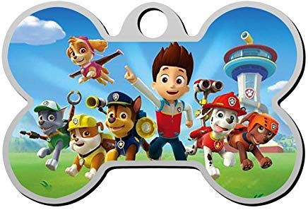Paw Patrol Dog Collar (LilithCroft99 Zinc Alloy P-a-w Pa-tr-ol Personalized Bone Shape Pet ID Tag for Dog for Cat Double Sided for Christmas Birthday Gifts for Dog)